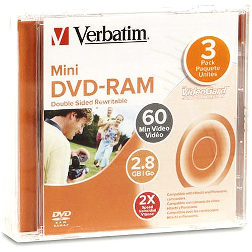 2.8 GB Verbatim 3-Inch Mini DVD-RAM (Archival-grade) in Jewel Case (no Cartridge)